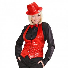 Paillettenhut Party Trilby rot