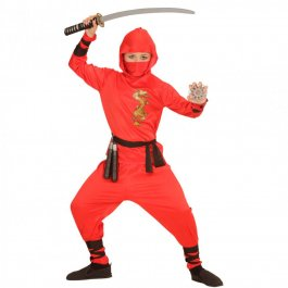 kinder ninjaanzug samurai ninja kost m rot 128 cm 5 7 jahre 22 99. Black Bedroom Furniture Sets. Home Design Ideas
