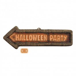Halloween Party Hinweisschild Wegweiser Schild 3D- neon leuchtend