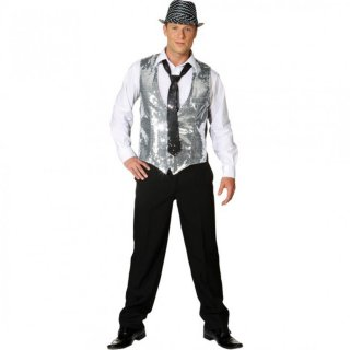 Show Weste Paillettenweste silber Disco Outfit 52/54