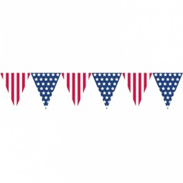 USA Wimpelkette Stars and Stripes Girlande Partykette