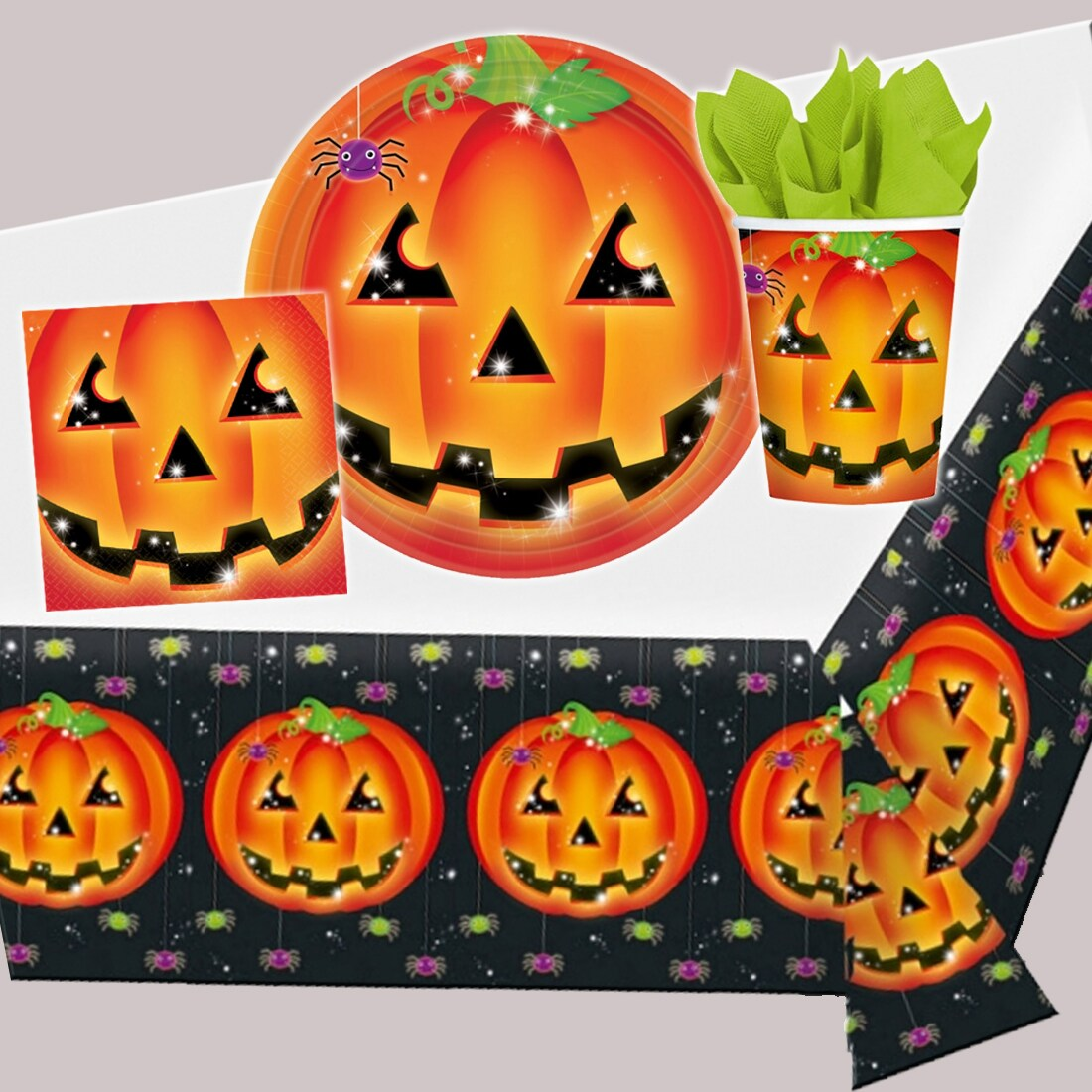 halloween party k rbis dekoration halloweenparty kinder deko partyset 3 49. Black Bedroom Furniture Sets. Home Design Ideas