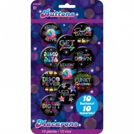 10 Disco Fever Buttons 70er Jahre 4,4 cm Saturday Night Pins