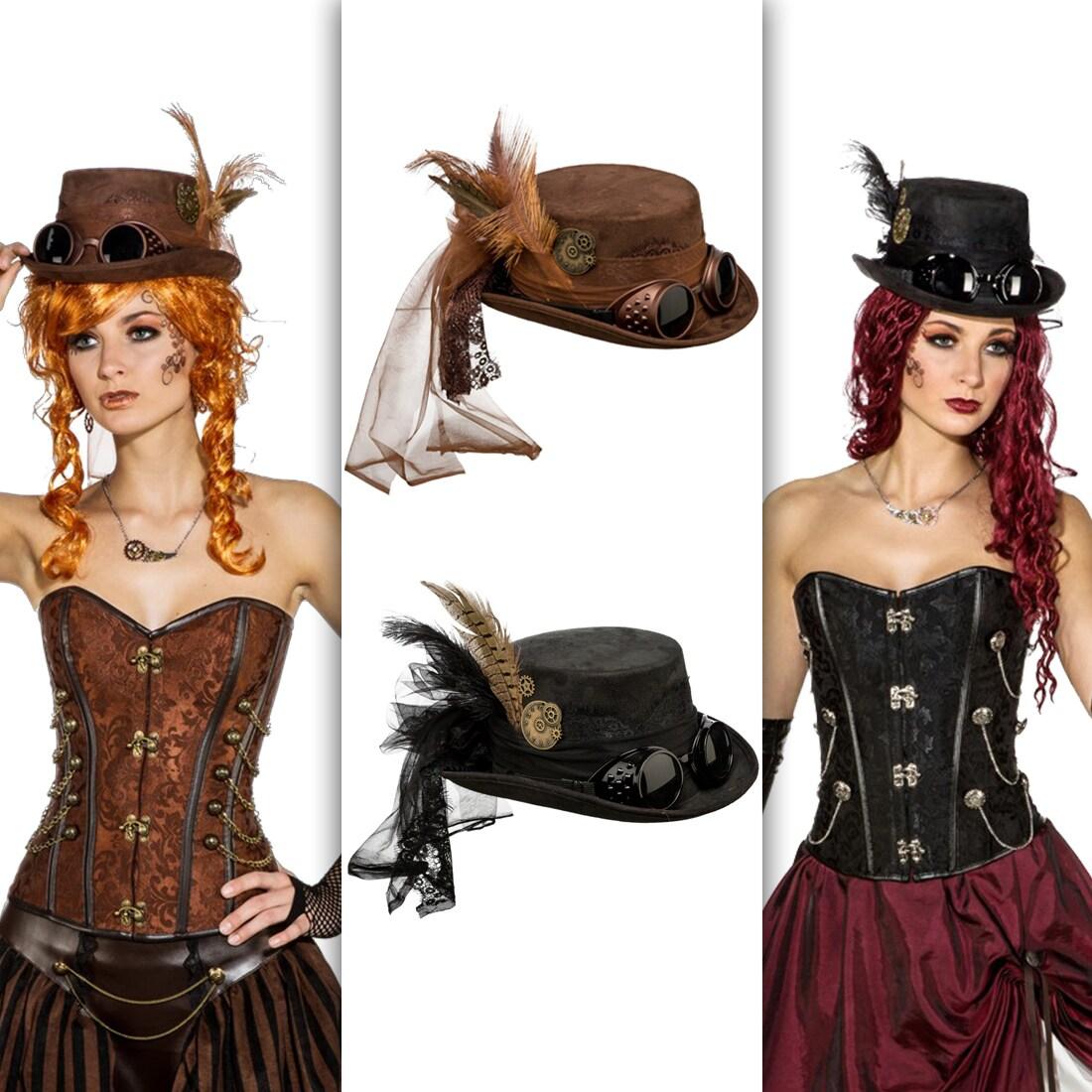 Steampunk Zylinder Hut Pirat Barock Kostüm Damen Steampunkhut Steampunkzylinder