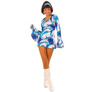 70er Jahre Damen Party Kleid Blau Kostum Gr L 22 99