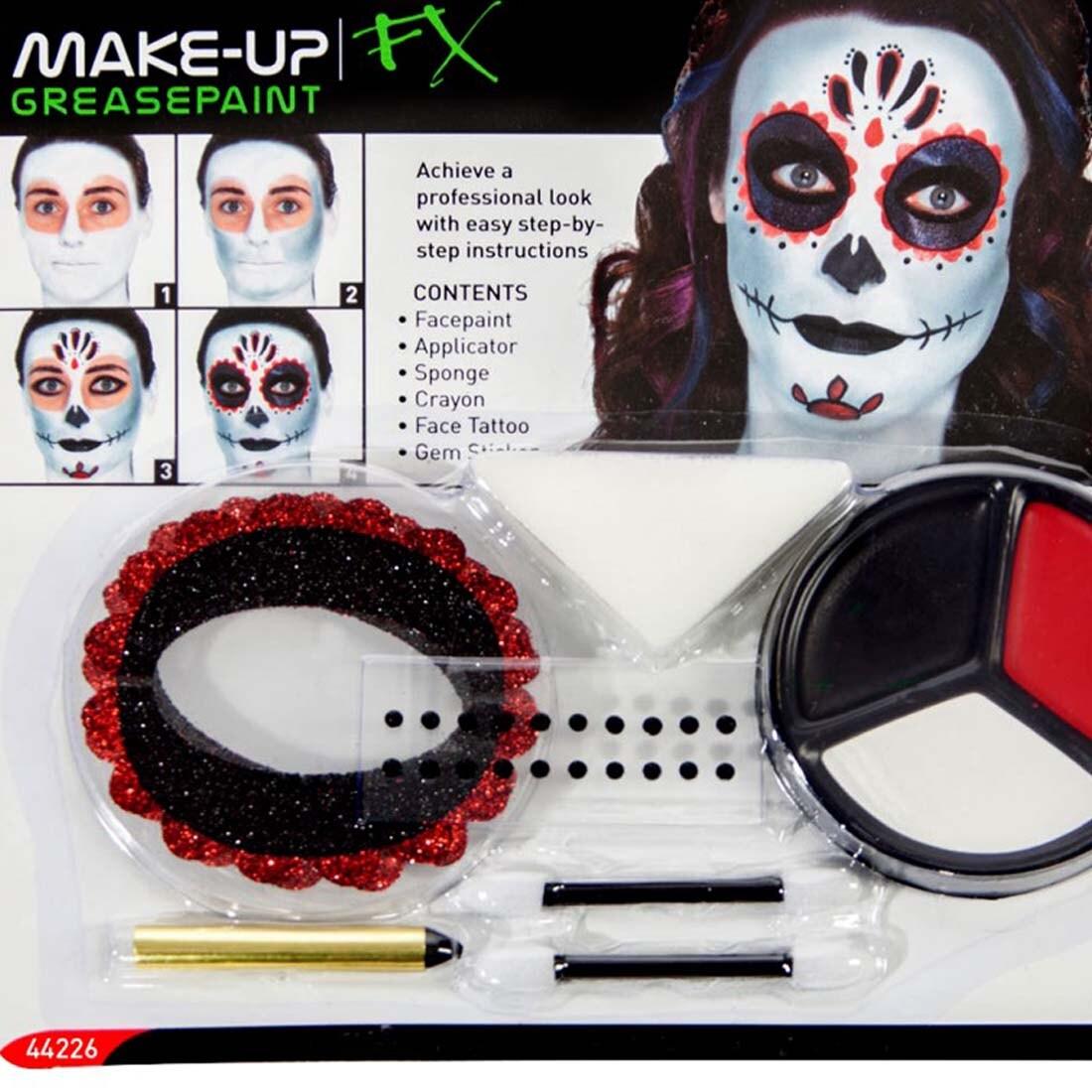 Schminke mexikanische totenmaske sugar skull makeup set mehrteilig 7 49 - Mexikanische totenmaske schminken ...