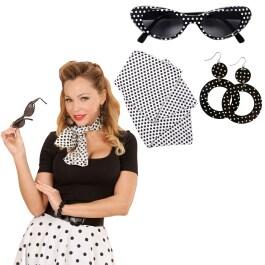 e4d6cca6600da8 50er Jahre Petticoat Kleid Rockabilly Damenkostüm schwarz-weiss ...