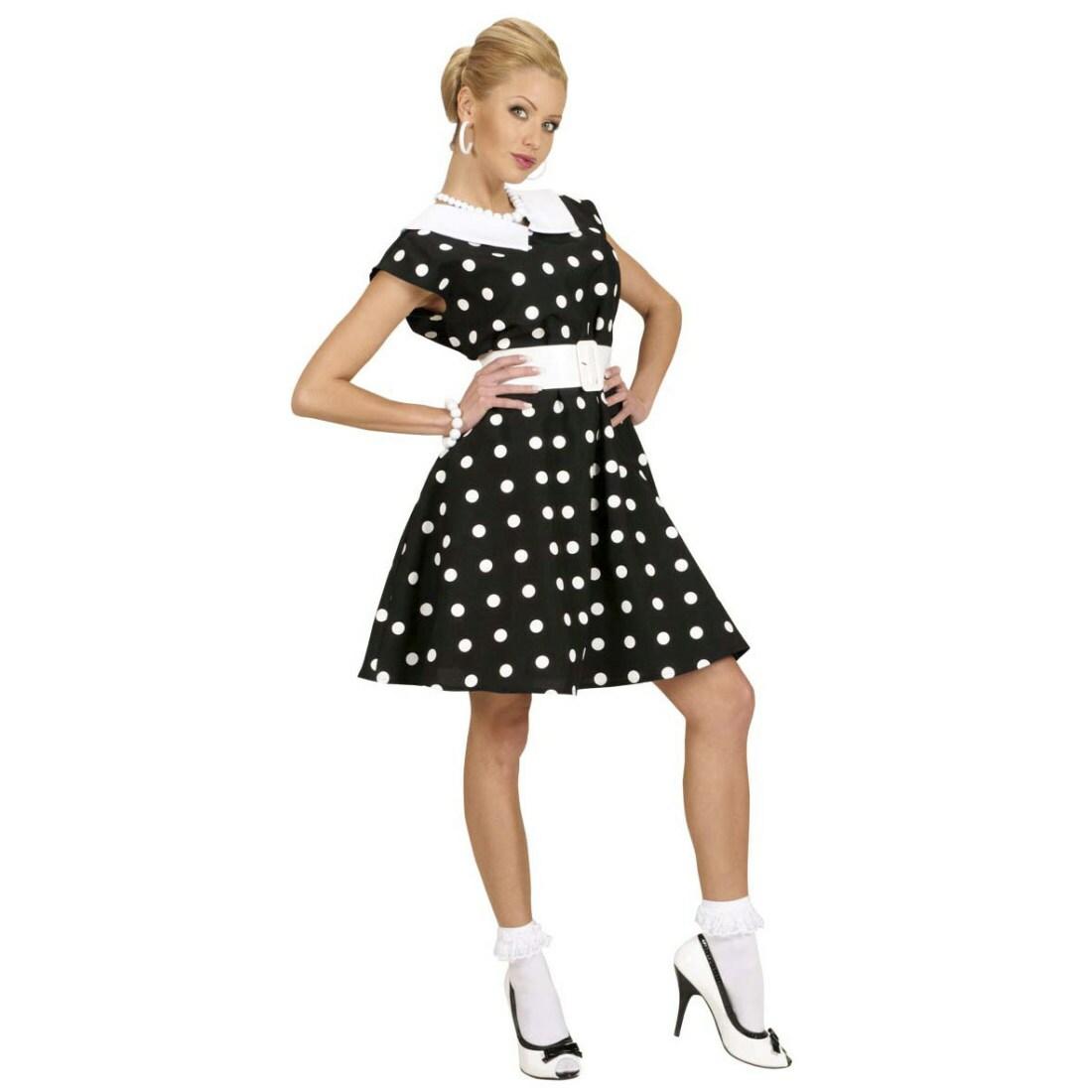 50er jahre petticoat kleid rockabilly damenkostüm schwarz-weiss gepunktet