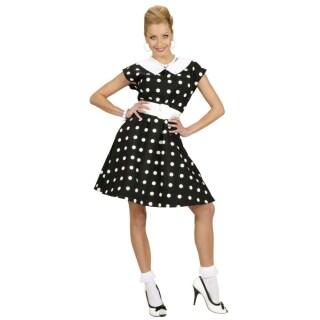 932bba92f98d00 50er Jahre Petticoat Kleid Rockabilly Damenkostüm schwarz-weiss gepunktet  ...