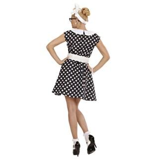 8fd96211c1d3c8 ... 50er Jahre Petticoat Kleid Rockabilly Damenkostüm schwarz-weiss  gepunktet
