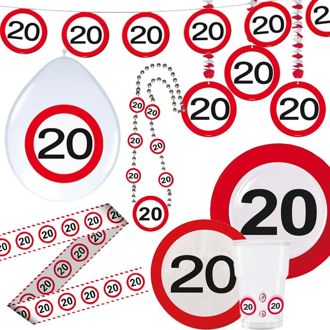 Kunststoffbecher 20er Geburtstag Becher Verkehrsschilder 350 ml Partybecher