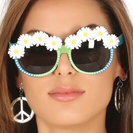 Flower Power Brille Hippiebrille mit Margeriten