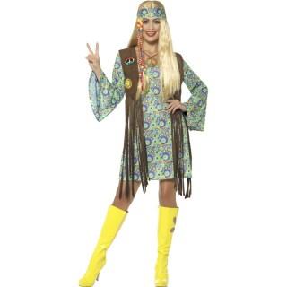 Hippie Kostum Damen Flower Power Kleid 30 49