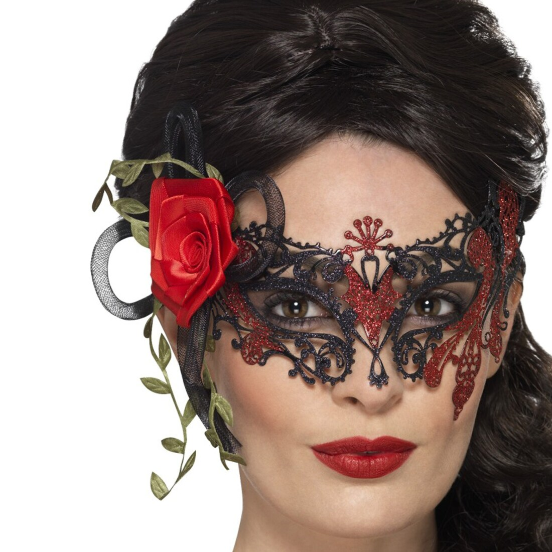 dia de los muertos maske venezianische augenmaske mit rosen schwarz r 12 95. Black Bedroom Furniture Sets. Home Design Ideas