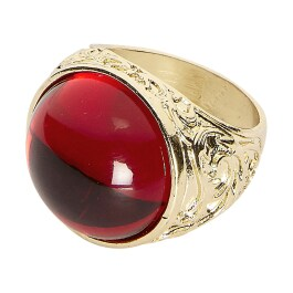 Gothic-Ring mit rotem Stein Gold-Rot