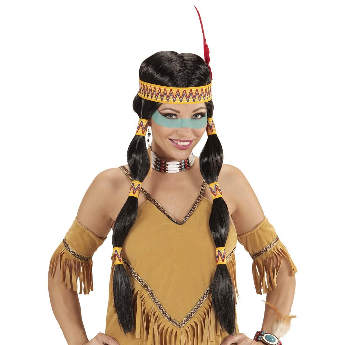 Indianer Frau: Indianer-Frau Perücke Mit Stirnband & Federschmuck Schwarz