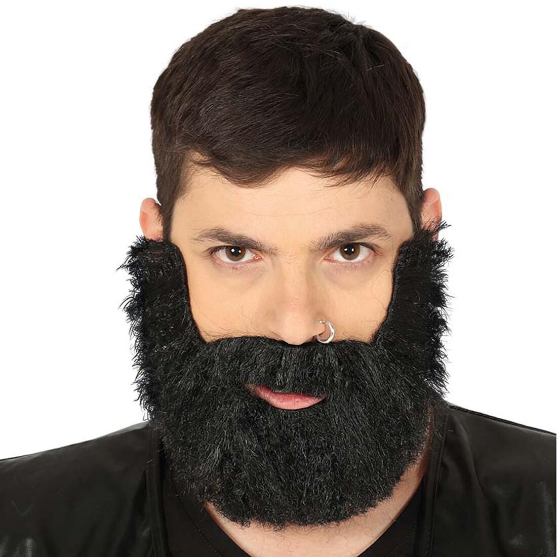 Falscher Bart Biker Schwarz, auftoupiertes Haar, 6,99