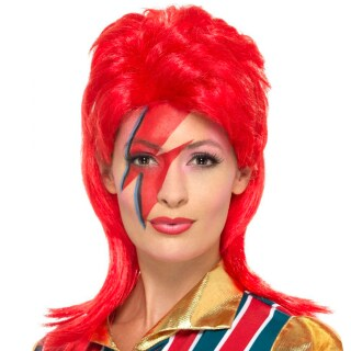 Superstar Vokuhila Damenperucke Rot Rockerin Perucke 9 99