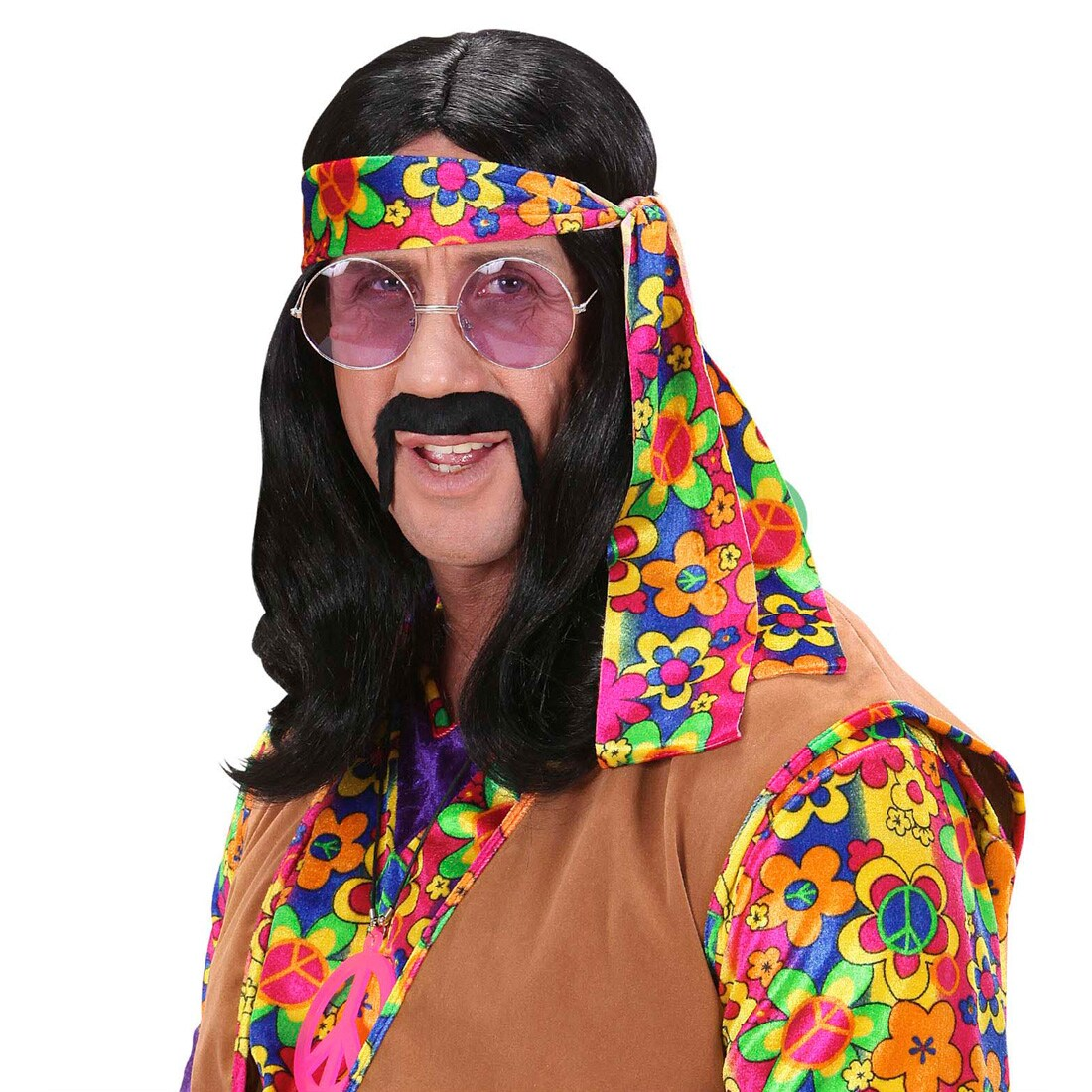 Schwarze Herren Hippie Perücke Dude Hippieperücke Herrenperücke Fasching