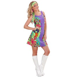 Damen Hippiekostüm Hippie Kostüm Flower Power Gr M
