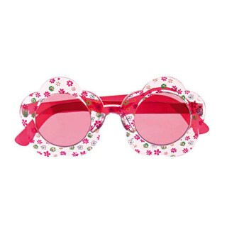 Rote Party Brille Hippie Hippiebrille Faschingsbrille rot
