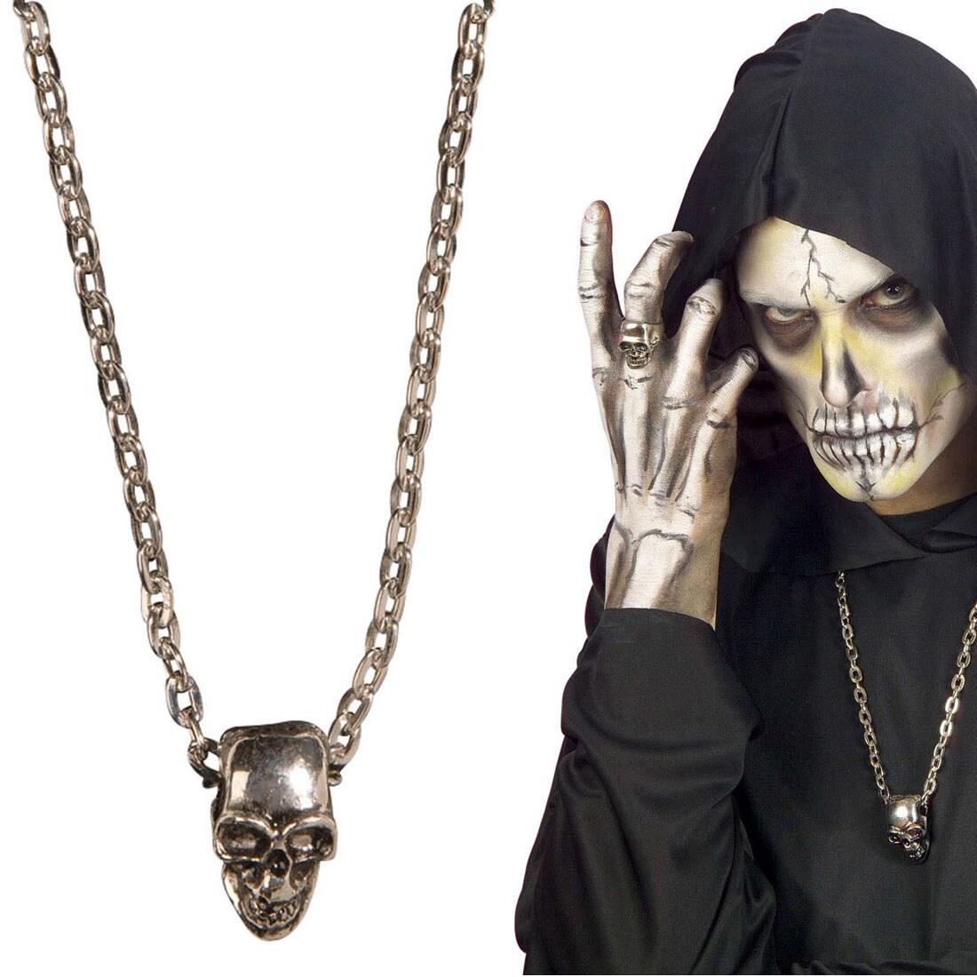 Totenkopf Schmuck Skull Halskette Rocker Kette Biker