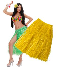 Gelbes Hawaii Kostüm Bastrock Damen Rock Hawaiikostüm 75cm
