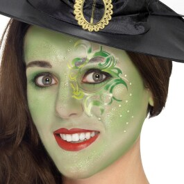 Extravagantes Grusel Make-Up-Set Hexe Grün