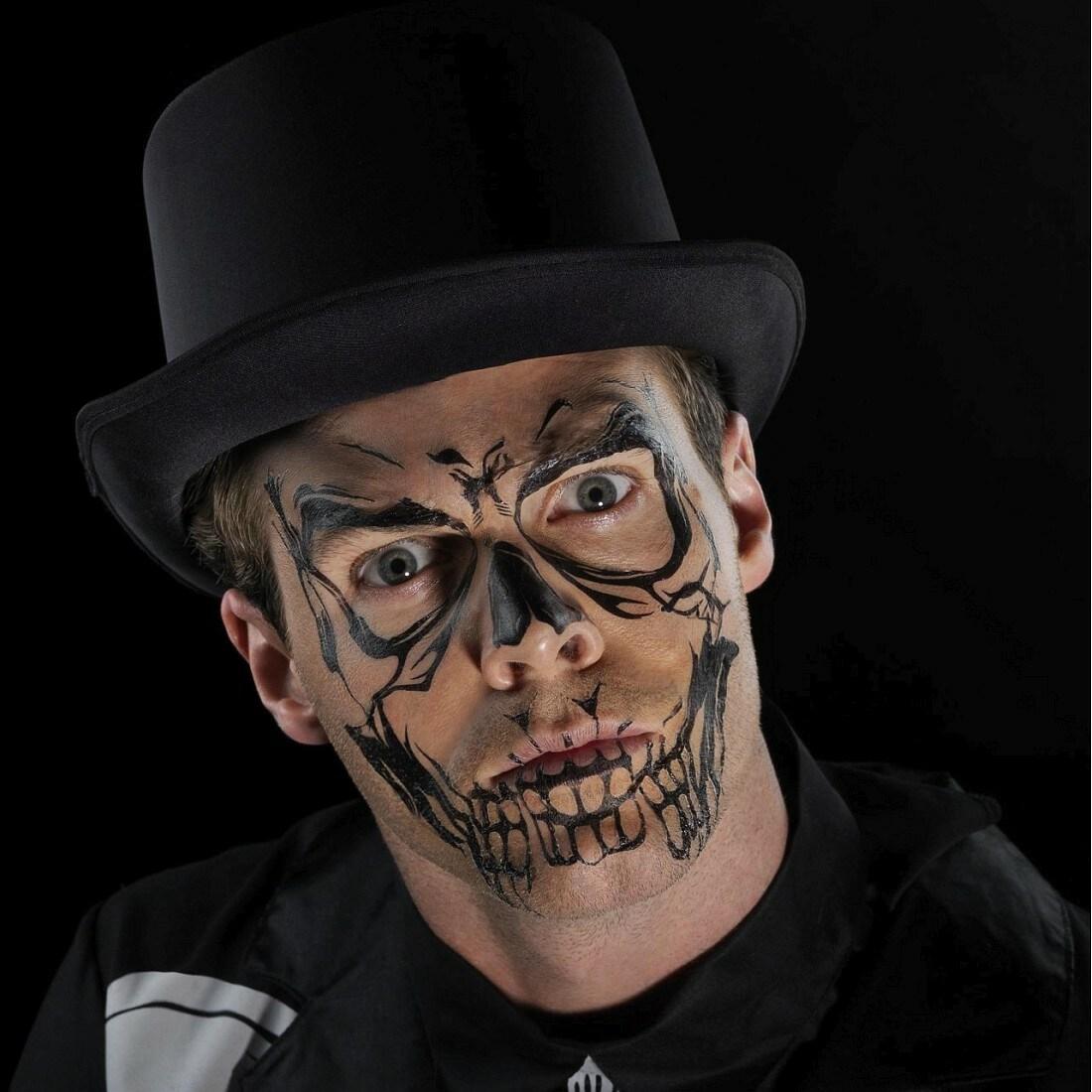 Gruseliges Totenkopf Klebe-Tattoo für Gesicht Schwarz, 3,49