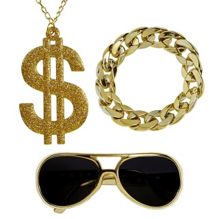 Rapper Kostüm Set mit Goldkette, Armband & Sonnenbrille Gold