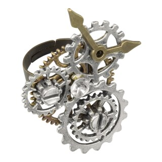 Extravaganter Steampunk Ring mit Applikationen Gold