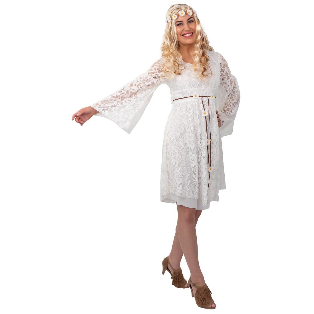 Stilechtes Hippie-Kleid mit Spitze für Erwachsene Weiß 46 ...