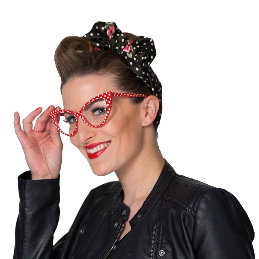 Angesagte Rockabilly Brille Mit Polka Dots Weiss Rot 5 99