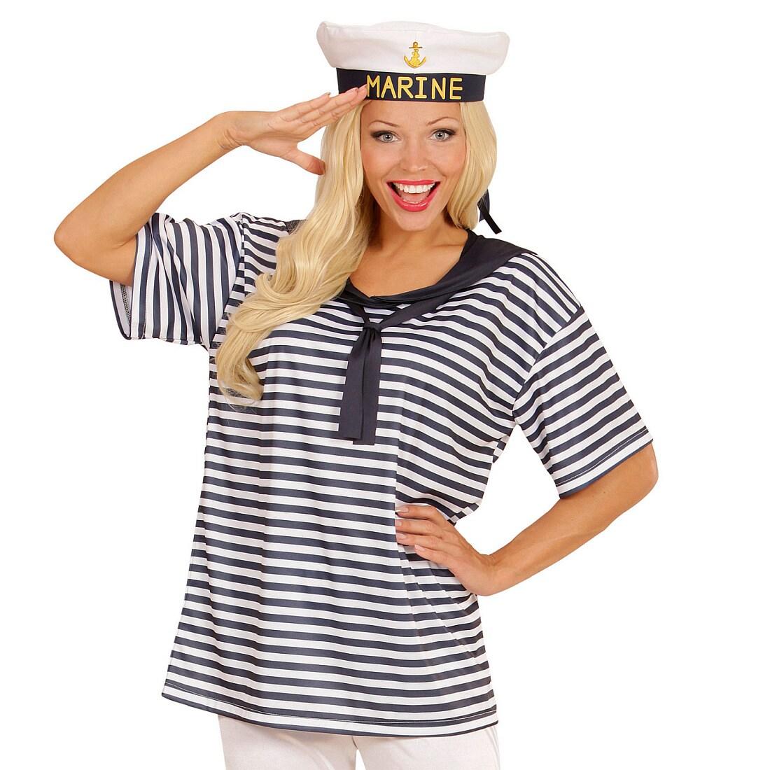Maritimes Matrosen-Shirt Schiffermütze Matrosen Kostümset aus Mütze und Hemd