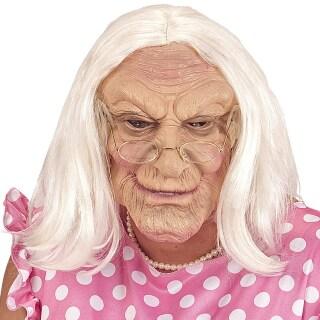Faltige Hexenmaske Alte Frau Mit Perücke Hautfarben Weiß 13 99