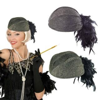20er Jahre Charleston Hut Damen Mütze 20ies Damenhut schwarz