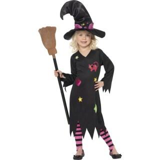 Hexen Kostum Kinder Schwarz M 128 134cm Hexenkostum Kinderkostum