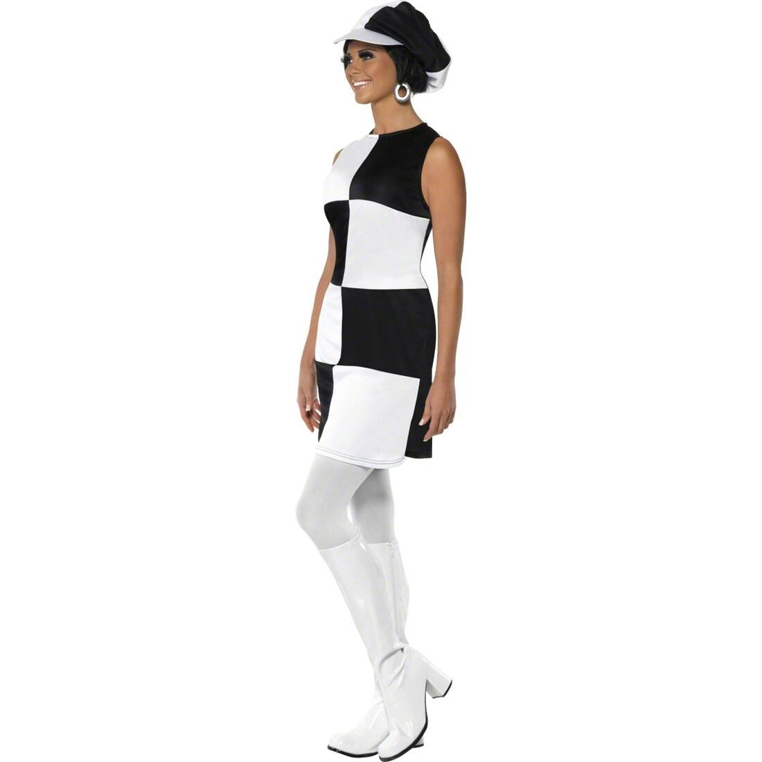 party girl outfit sechziger jahre kost m wei schwarz m 40. Black Bedroom Furniture Sets. Home Design Ideas