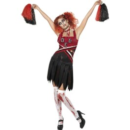 Cheerleader Uniform Zombie Halloween Kostüm rot schwarz S...