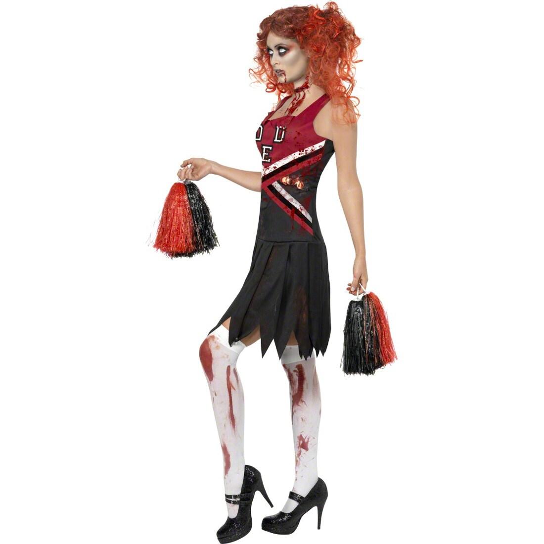 Halloween Cheerleader Zombie Outfit Cheerleaderkostüm rot schwarz L 44//46
