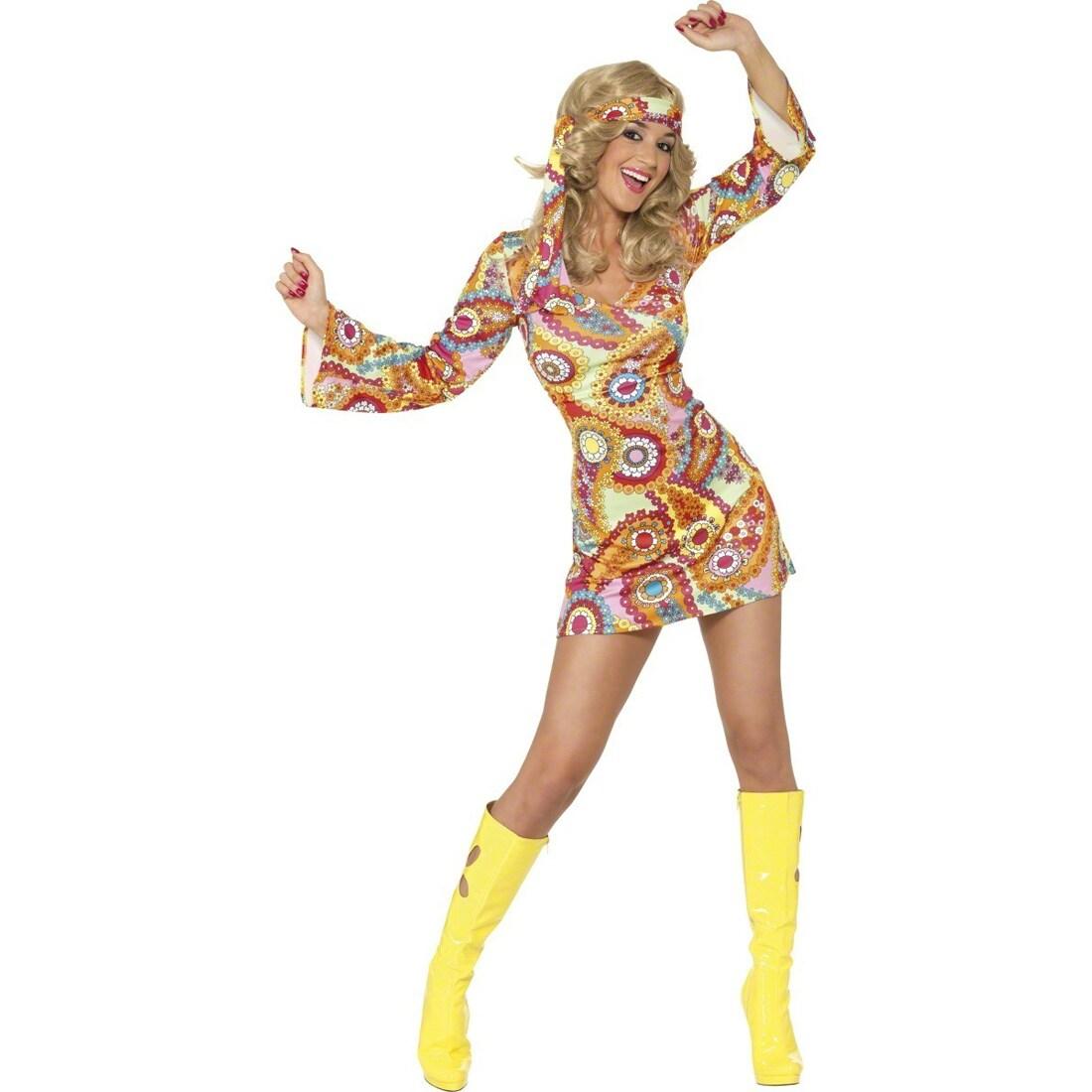 Flower Power Kostüm Hippiekostüm Damen Hippie Damenkostüm Mehrfarbig M 40//42