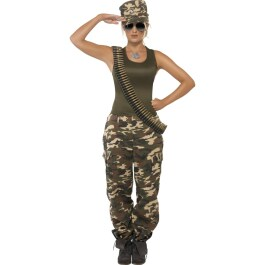 Army Girl Kostüm Camouflage Uniform Khaki L 44/46