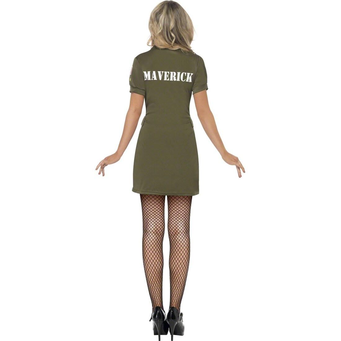top gun pilotin kost m army girl uniform gr n l 44 46. Black Bedroom Furniture Sets. Home Design Ideas