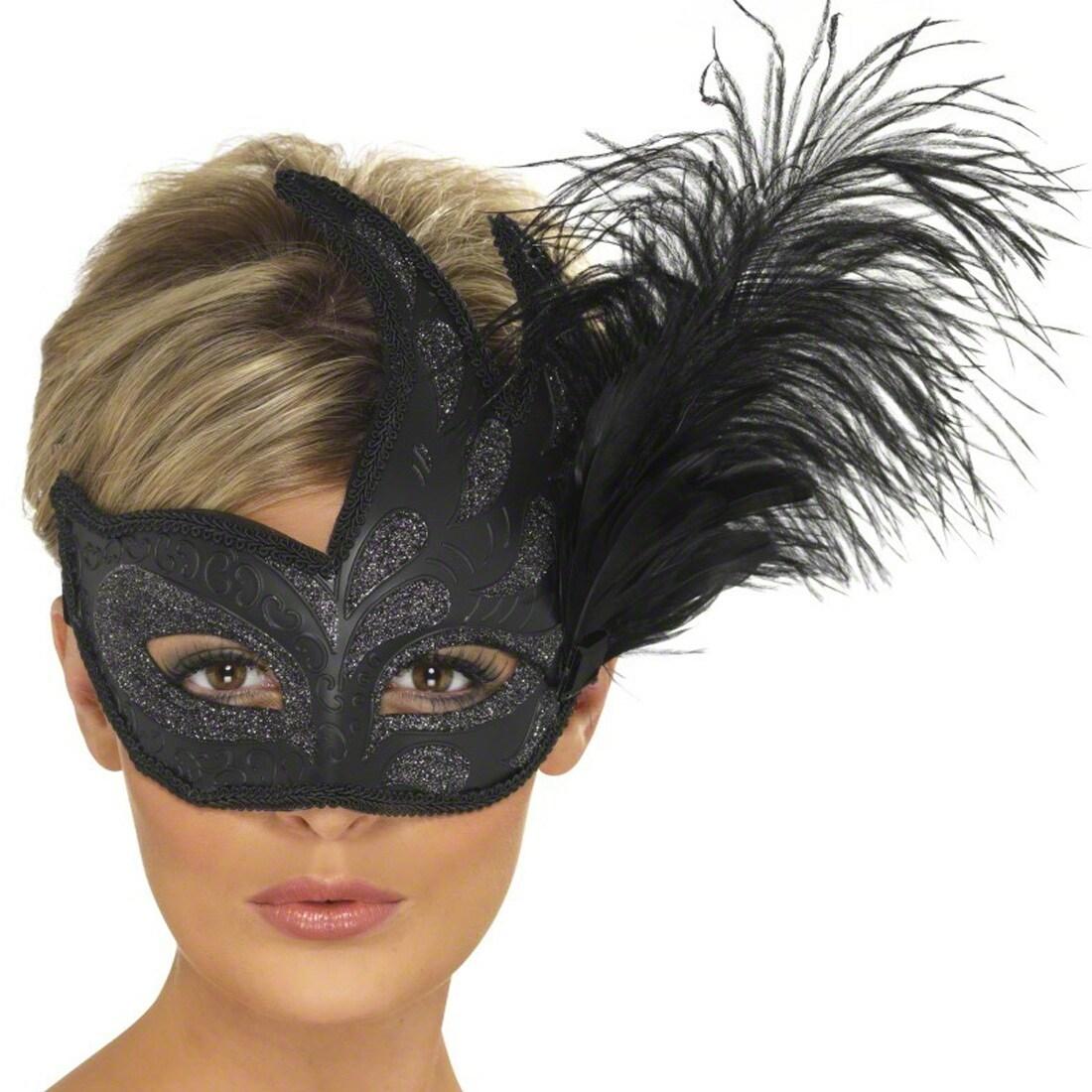 Venezianische Maske mit Feder Augenmaske Schwarz Ballmaske ...