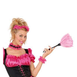 Staubwedel pink Wedel Zimmermädchen Kostüm Fasching Karneval Zubehör Federn