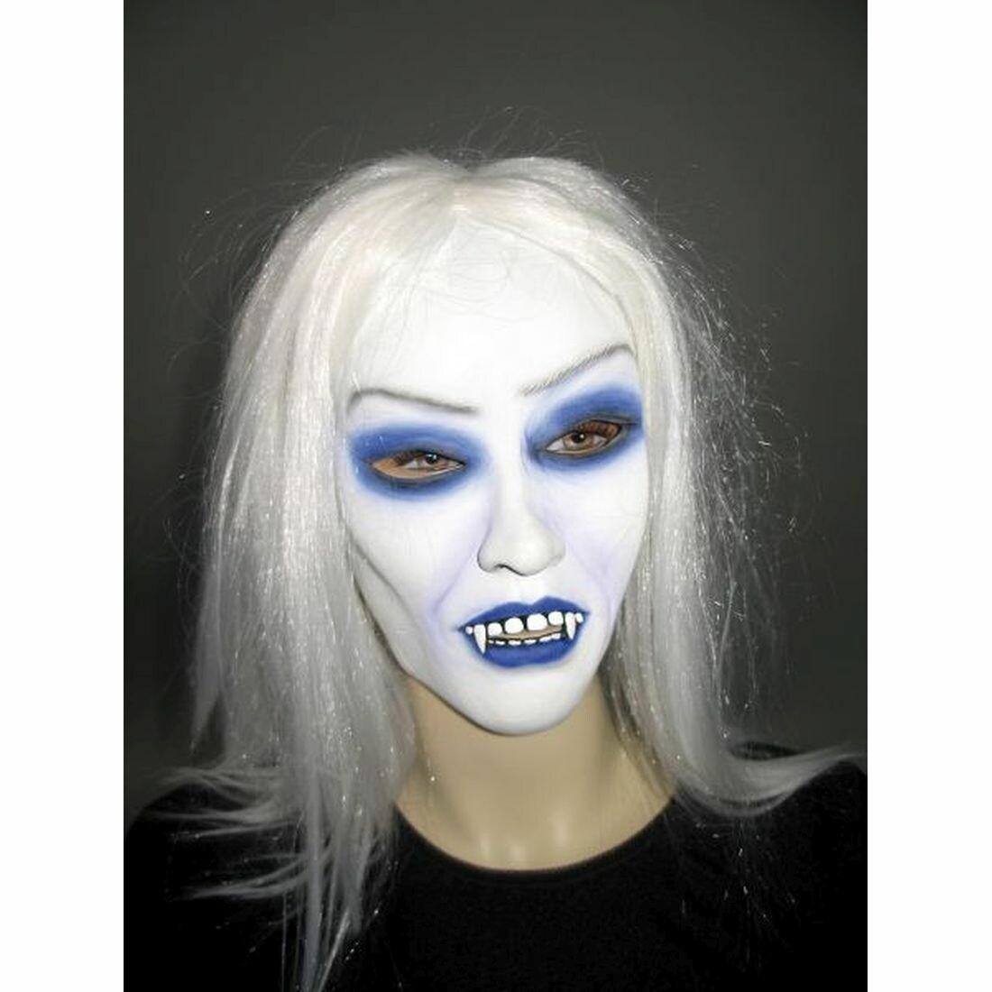 Halloween Gothic-Vampir-Dame Vampirin-Maske mit Haaren Karneval Dämon