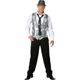 Show Weste Paillettenweste silber Disco Outfit 48/50