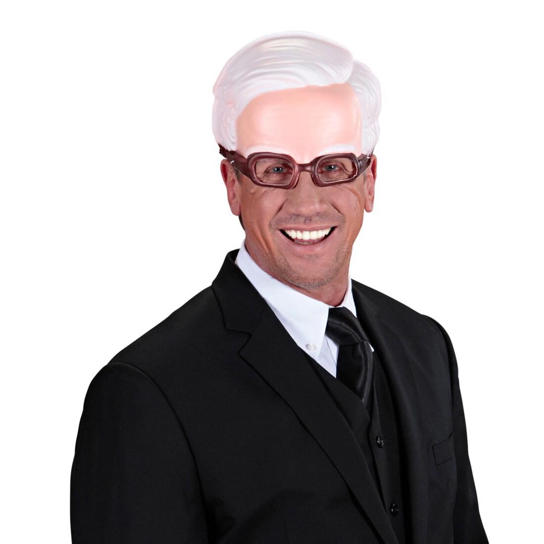 Kinnlose Maske Opa mit Brille Alter Mann Halbmaske Greis