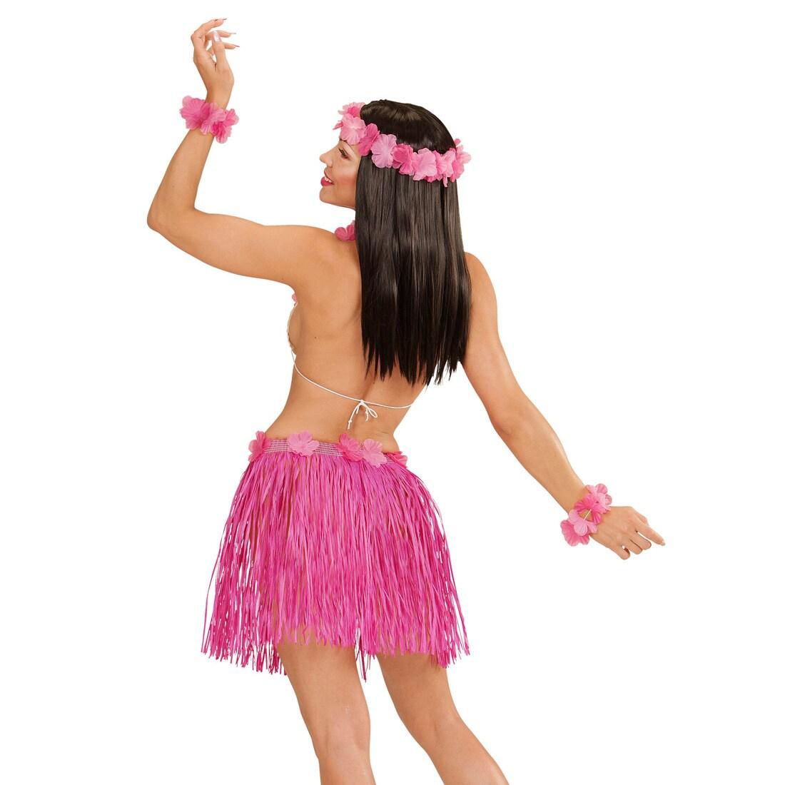 hawaii set rosa hula damen kost m hawaiirock blumenkette. Black Bedroom Furniture Sets. Home Design Ideas