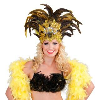 Samba Kopfschmuck gold-gelb Federkopfschmuck Feder Schmuck Rio Brasilianisch